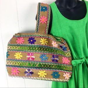 Handbags - Vintage 70s Handmade Burlap & Flower Handbag